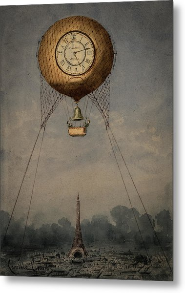 Clock Over Paris Metal Print