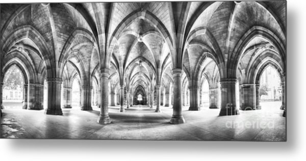 Cloister Black And White Panorama Metal Print