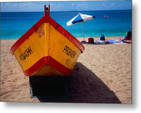 Close Up Frontal View Of A Colorful Boat On A Caribbean Beach Metal Print by George Oze