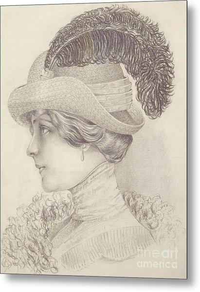 Close-up Of A Young Woman, Austria, 1910 Metal Print