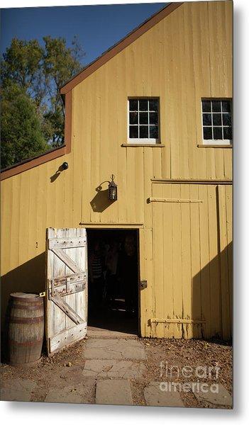 Close Up Of Landis Valley Yellow Barn Metal Print