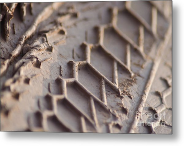 Close Up Of Motorcycle Tread Pattern On Muddy Trail Metal Print