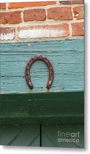 Close Up Of Rusty Horseshoe Metal Print