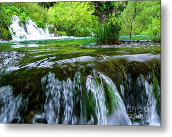 Close Up Waterfalls - Plitvice Lakes National Park, Croatia Metal Print