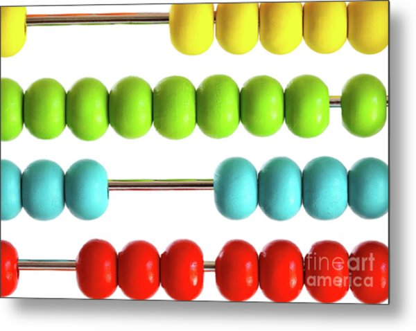 Closeup Of Bright  Abacus Beads On White Metal Print