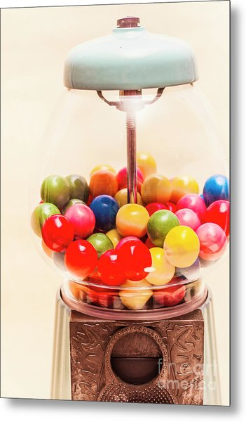 Closeup Of Colorful Gumballs In Candy Dispenser Metal Print