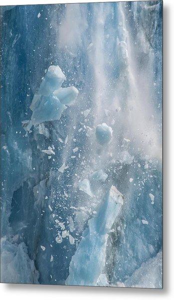 Closeup Of Dawes Glacier Calving Metal Print