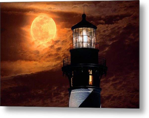 Closeup Of Full Moon Rising Over St Augustine Lighthouse Metal Print