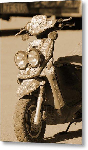 Closeup Of Jesus Scooter In Sepia Metal Print