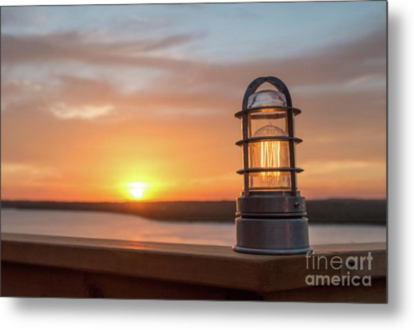 Closeup Of Light With Sunset In The Background Metal Print