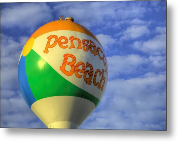 Closeup On The Pensacola Beach Beach Ball Metal Print by JC Findley