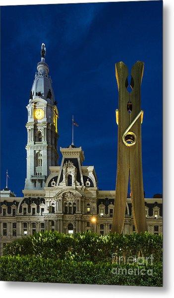 Clothespin Sculpture And City Hall Metal Print