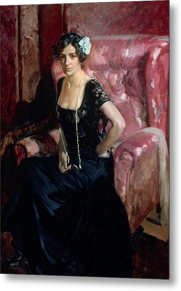Clotilde In An Evening Dress Metal Print