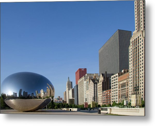 Cloudgate Reflects Michigan Avenue  Metal Print