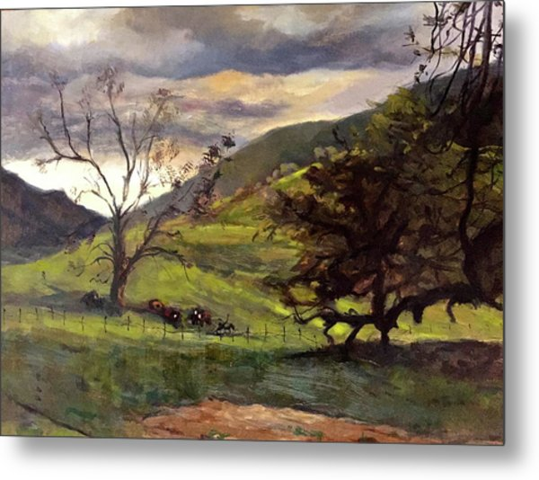 Clouds And Cattle Metal Print