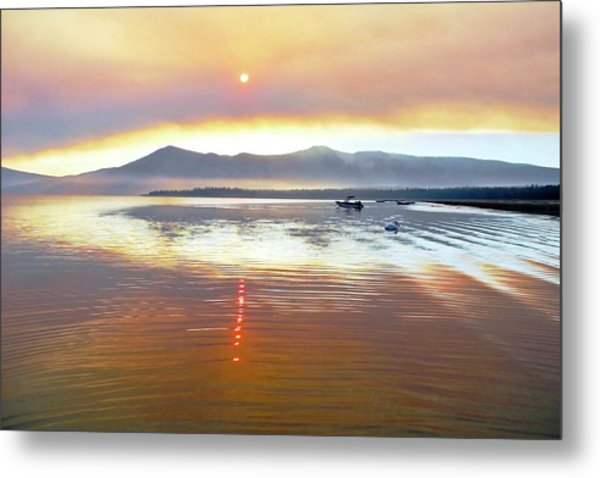 Clouds And Sun In A Smoky Sky Metal Print