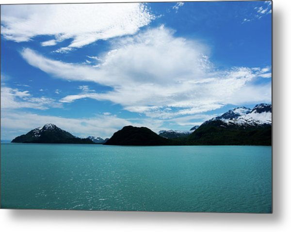 Clouds Mountains And Water Metal Print