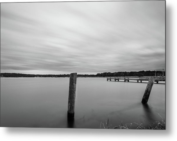 Metal Print featuring the photograph Clouds Moving Over Lake Long Exposure by Todd Aaron