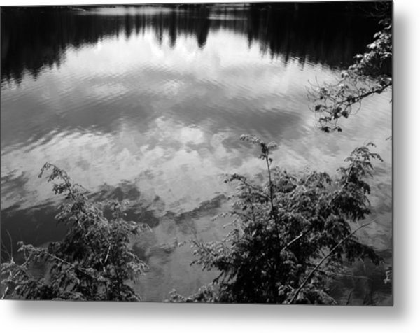 Clouds On Rock Pond Metal Print