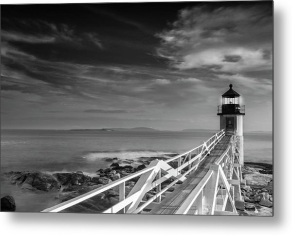 Clouds Over Marshall Point Lighthouse In Maine Metal Print