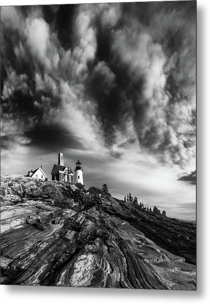 Clouds Over Pemaquid Lighthouse Metal Print