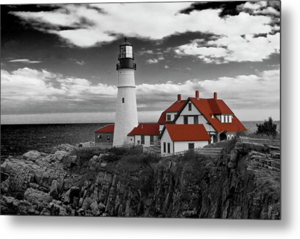 Clouds Over Portland Head Lighthouse 3 - Bw Metal Print