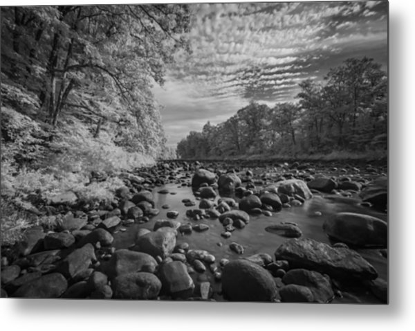 Clouds Over The River Rocks Metal Print