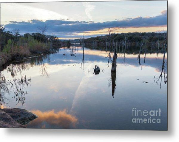 Clouds Reflecting On Large Lake During Sunset Metal Print