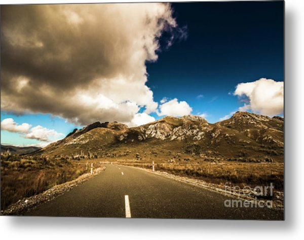 Cloudy Country Road Metal Print