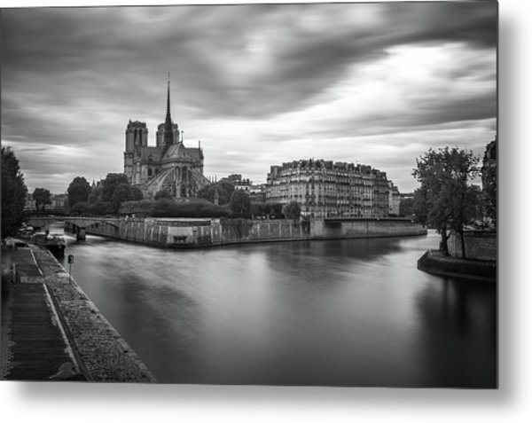 Cloudy Day On The Seine Metal Print