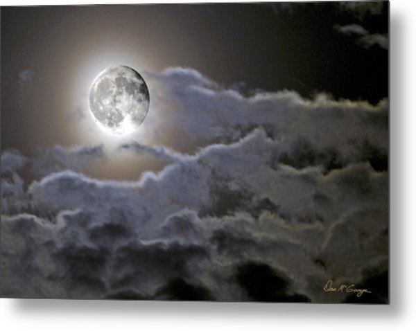 Cloudy Moon Metal Print