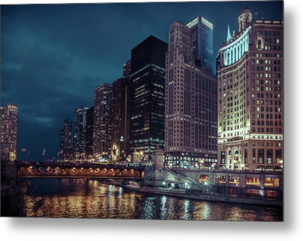Cloudy Night Chicago Metal Print