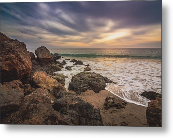 Cloudy Point Dume Sunset Metal Print