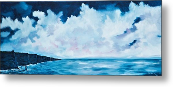 Cloudy Skies Over The Cliffs Of Moher Metal Print