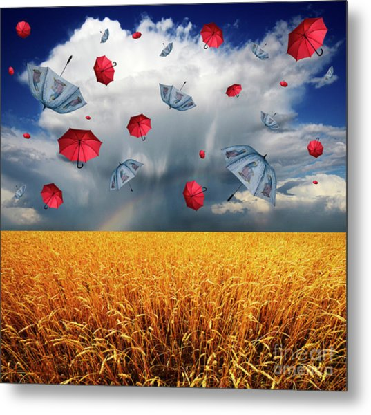 Cloudy With A Chance Of Umbrellas Metal Print