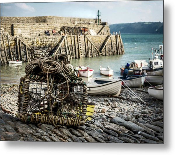 Clovelly Crab Trap Metal Print
