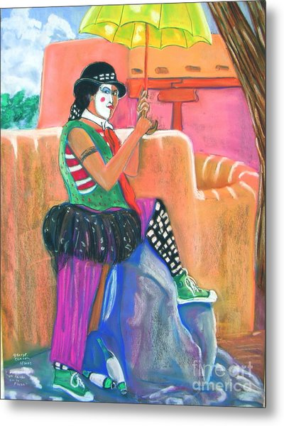 clown on Taos plaza Metal Print by George Chacon