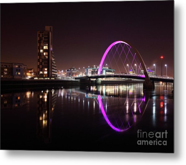 Clyde Arc Night Reflections Metal Print