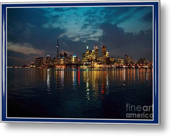 Cn  Tower And Toronto Down Town Water Front Beauty At Night Full Blast Photo Metal Print