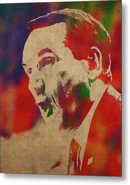 Coach Mike Krzyzewski Watercolor Portrait Metal Print