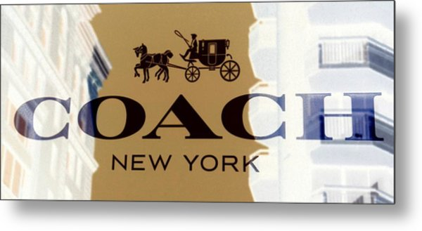 Metal Print featuring the photograph Coach New York Sign by Marianna Mills