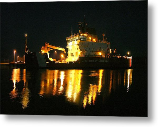 Coast Guard Cutter Mackinaw At Night Metal Print