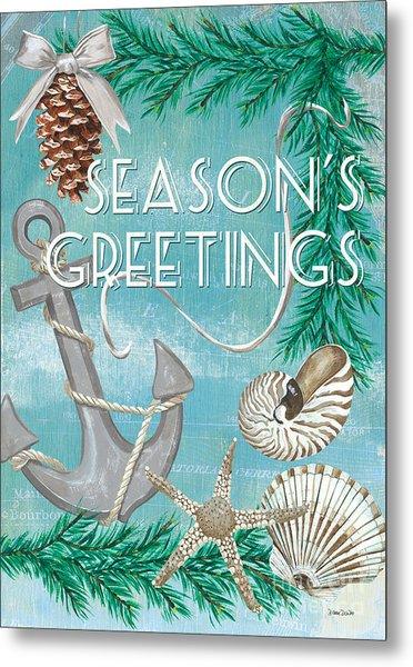 Coastal Christmas Card Metal Print