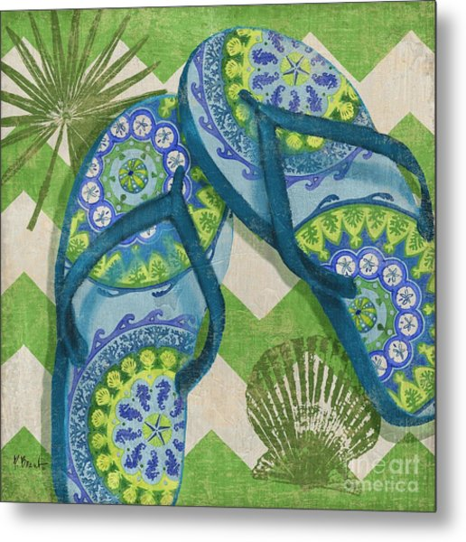 Coastal Flip Flops I Metal Print by Paul Brent