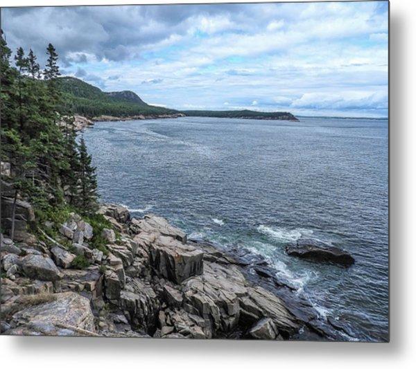 Coastal Landscape From Ocean Path Trail, Acadia National Park Metal Print