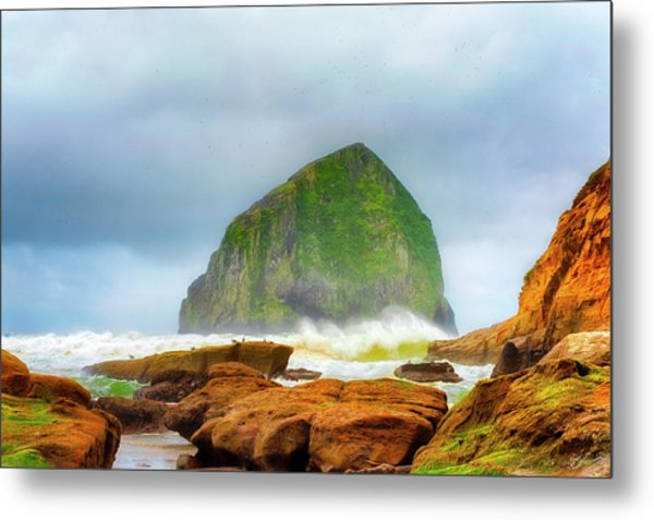 Coastal Storm At Haystack Metal Print