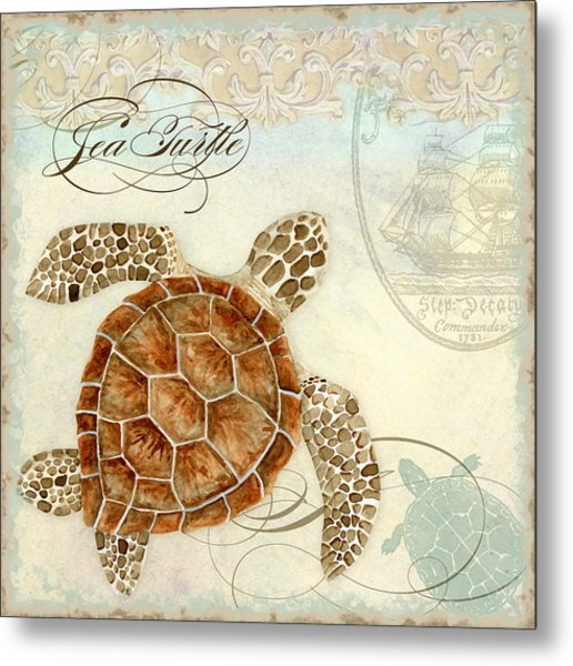 Coastal Waterways - Green Sea Turtle 2 Metal Print