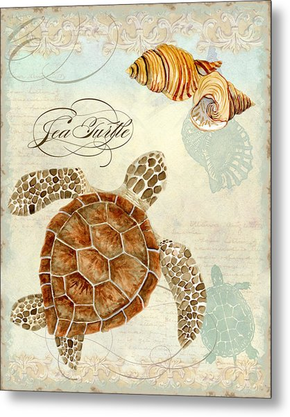 Coastal Waterways - Green Sea Turtle Rectangle 2 Metal Print