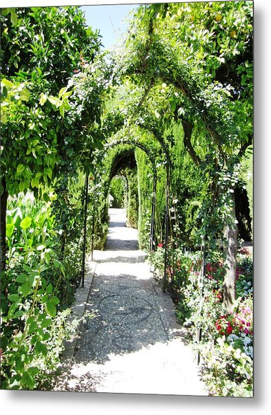 Cobble Stone Garden Walkway In Spain Metal Print