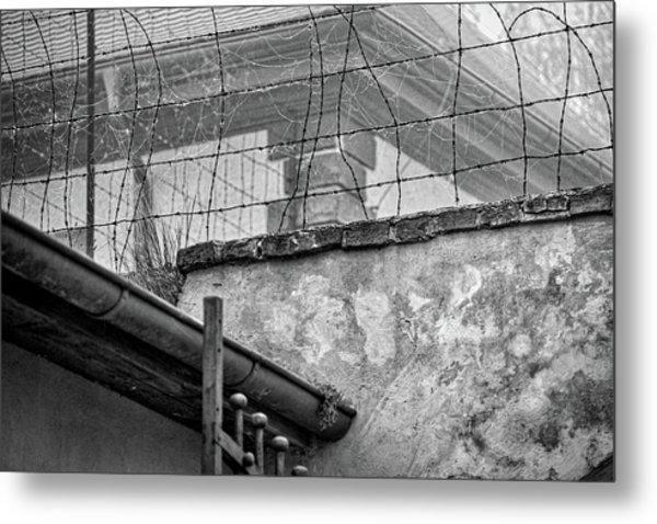 Cobwebs On Barbed Wire Metal Print